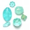 Lucite Assorted Medium Beads Aqua - 42 Grams